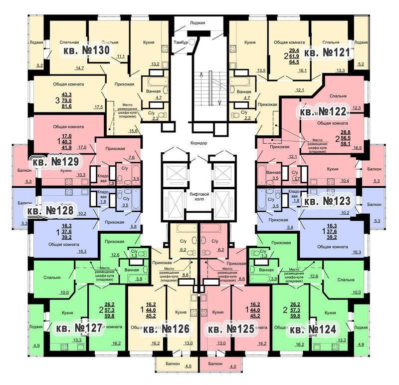 Планировка 13-го этажа 1-го дома ЖК Парковый по ул. Болдина