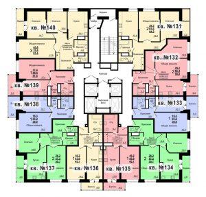 Планировка 14-го этажа 1-го дома ЖК Парковый по ул. Болдина