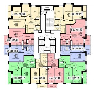 Планировка 15-го этажа 1-го дома ЖК Парковый по ул. Болдина