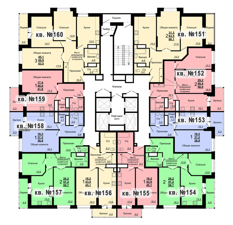 Планировка 16-го этажа 1-го дома ЖК Парковый по ул. Болдина