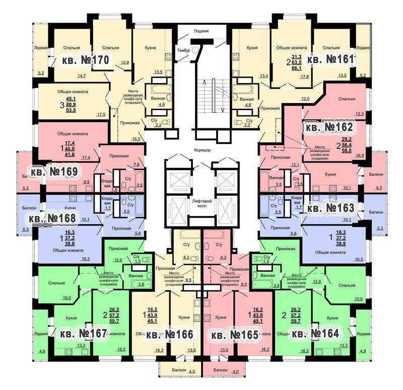 Планировка 17-го этажа 1-го дома ЖК Парковый по ул. Болдина