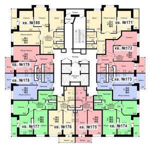 Планировка 18-го этажа 1-го дома ЖК Парковый по ул. Болдина