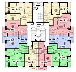 Планировка 1-го этажа 1-го дома ЖК Парковый по ул. Болдина