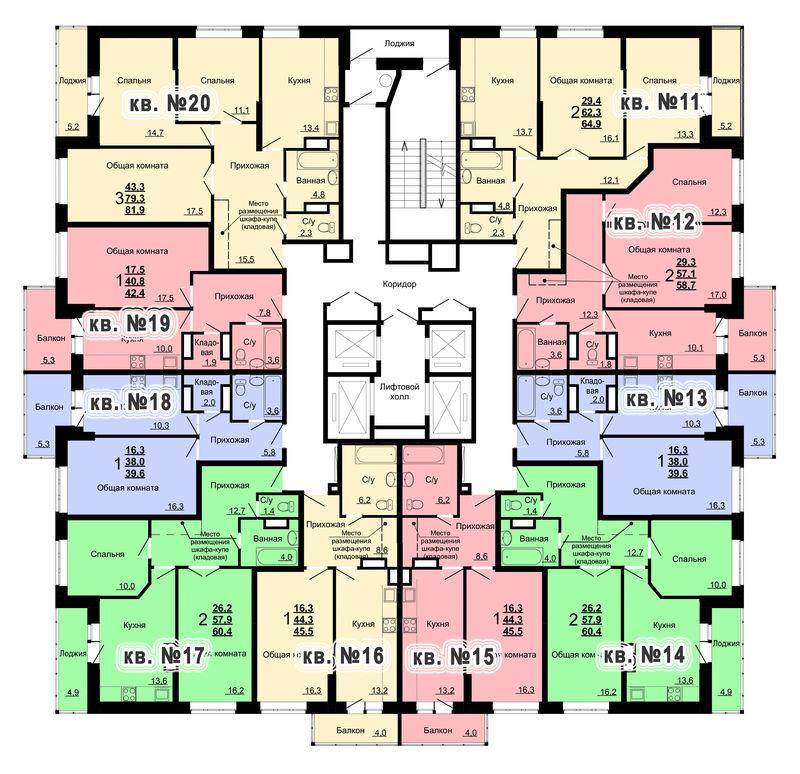 Планировка 2-го этажа 1-го дома ЖК Парковый по ул. Болдина