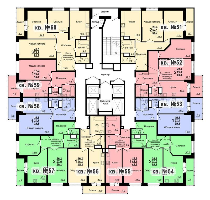 Планировка 6-го этажа 1-го дома ЖК Парковый по ул. Болдина