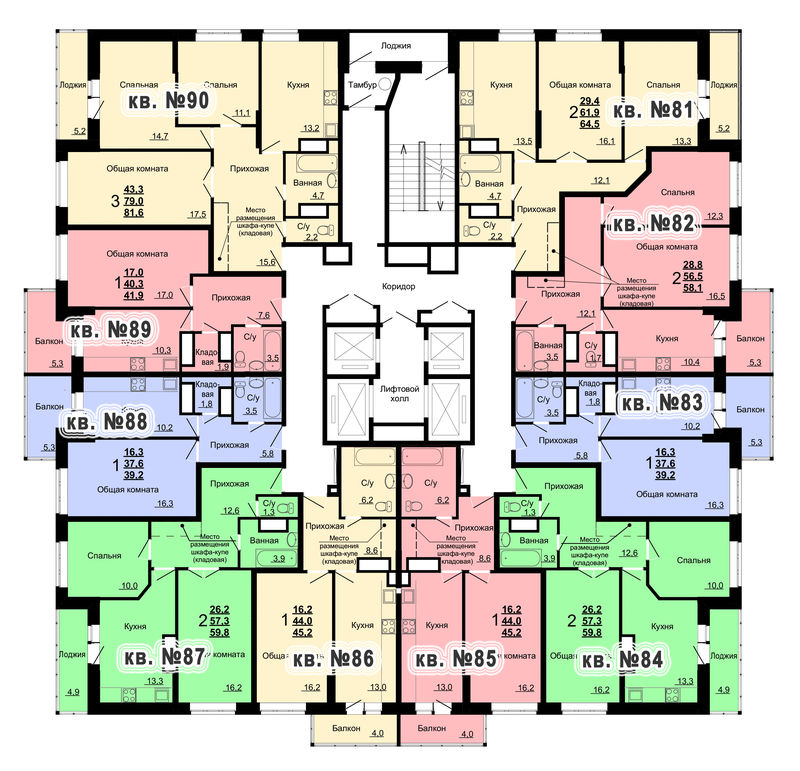 Планировка 9-го этажа 1-го дома ЖК Парковый по ул. Болдина