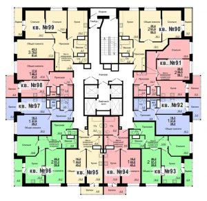 Планировка 10-го этажа 2-го дома ЖК Парковый по ул. Болдина