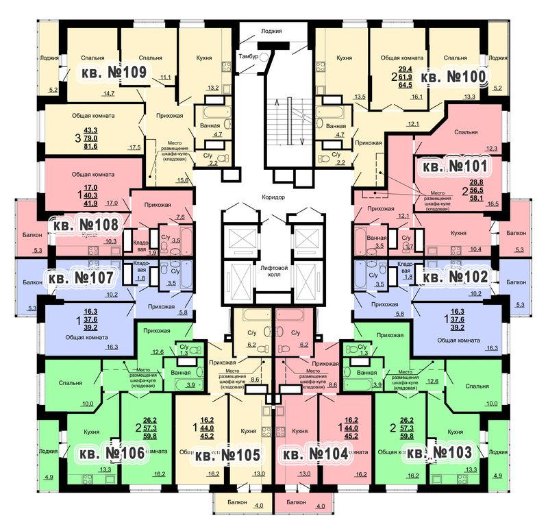Планировка 11-го этажа 2-го дома ЖК Парковый по ул. Болдина