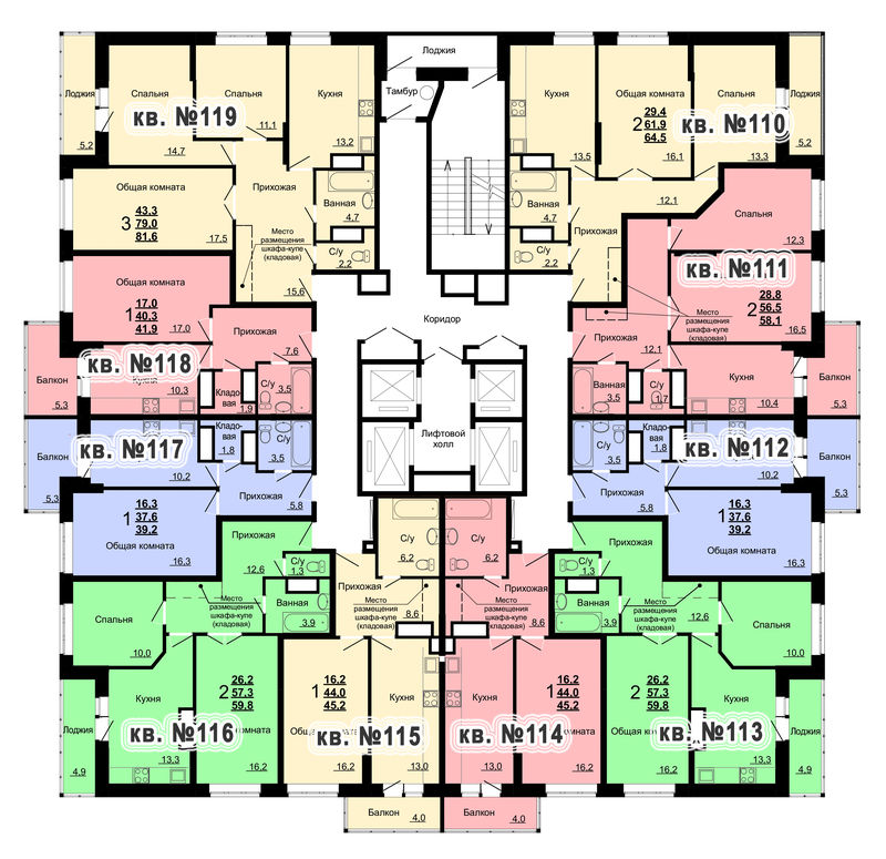 Планировка 12-го этажа 2-го дома ЖК Парковый по ул. Болдина