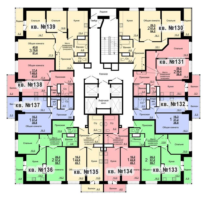 Планировка 14-го этажа 2-го дома ЖК Парковый по ул. Болдина