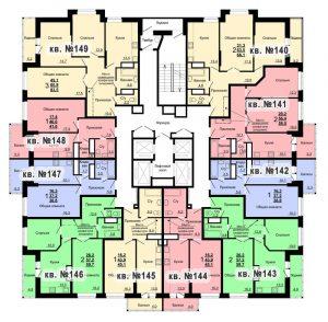 Планировка 15-го этажа 2-го дома ЖК Парковый по ул. Болдина