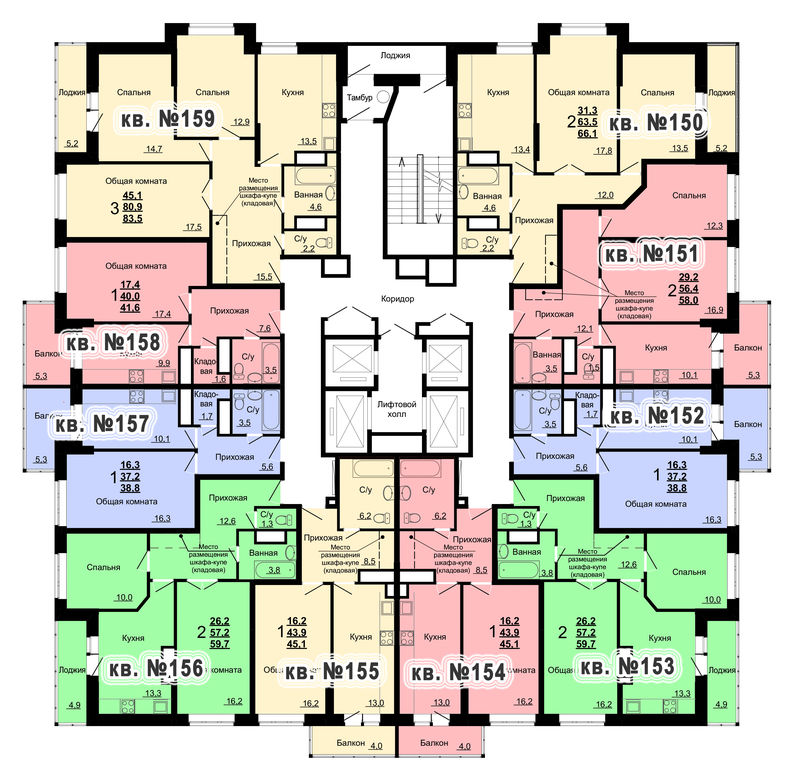 Планировка 16-го этажа 2-го дома ЖК Парковый по ул. Болдина