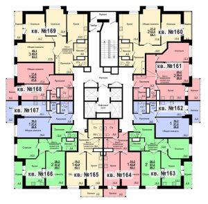 Планировка 17-го этажа 2-го дома ЖК Парковый по ул. Болдина