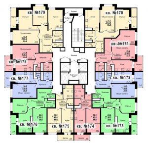 Планировка 18-го этажа 2-го дома ЖК Парковый по ул. Болдина