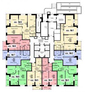 Планировка 1-го этажа 2-го дома ЖК Парковый по ул. Болдина