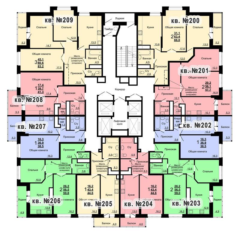 Планировка 21-го этажа 2-го дома ЖК Парковый по ул. Болдина