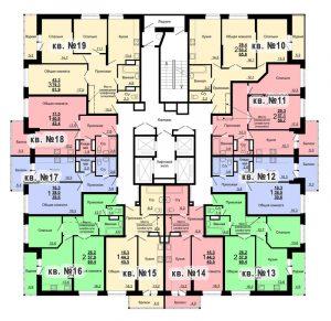 Планировка 2-го этажа 2-го дома ЖК Парковый по ул. Болдина