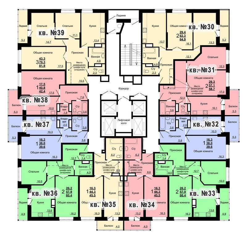 Планировка 4-го этажа 2-го дома ЖК Парковый по ул. Болдина