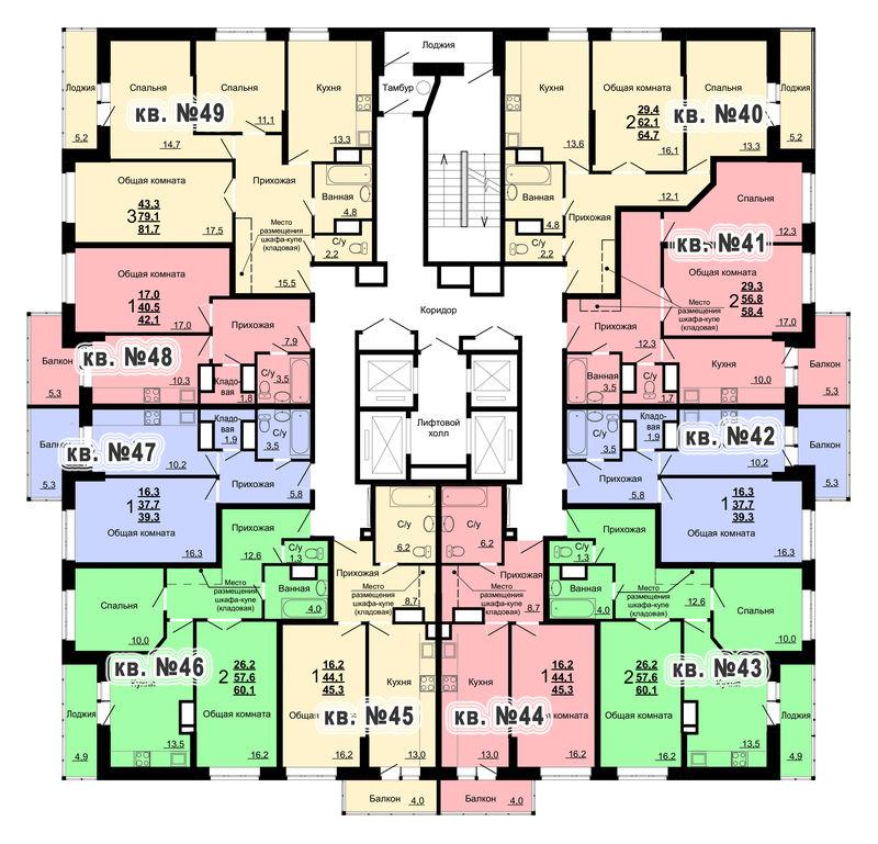 Планировка 5-го этажа 2-го дома ЖК Парковый по ул. Болдина