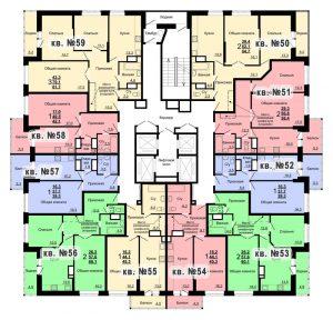 Планировка 6-го этажа 2-го дома ЖК Парковый по ул. Болдина