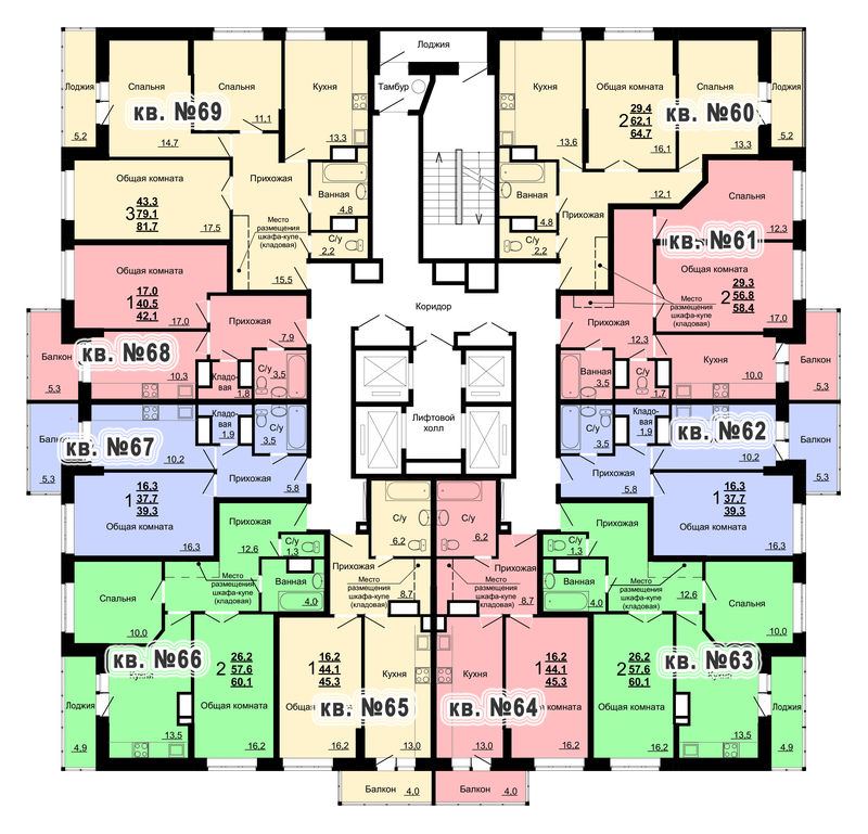 Планировка 7-го этажа 2-го дома ЖК Парковый по ул. Болдина