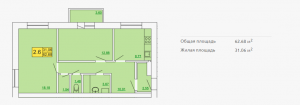 Планировка квартиры в форплексе 62,68 м2 ЖК Петровский квартал