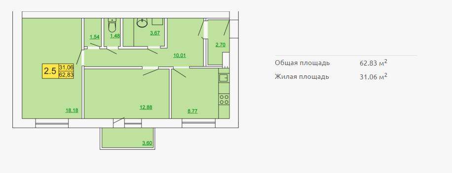 Планировка квартиры в форплексе 62,83 м2 ЖК Петровский квартал