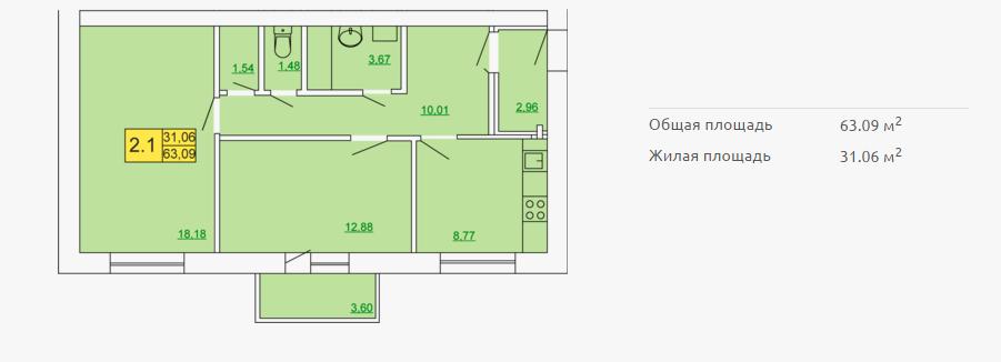 Планировка квартиры в форплексе 63,09 м2 ЖК Петровский квартал