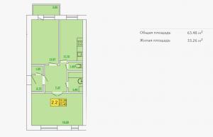 Планировка квартиры в форплексе 63,48 м2 ЖК Петровский квартал