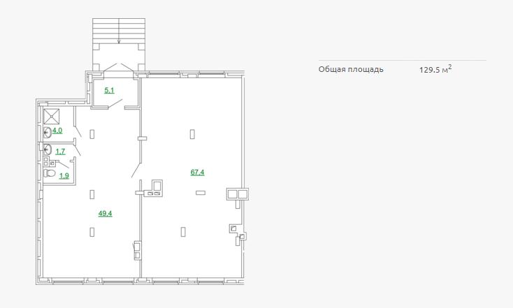 Планировка коммерческого помещения 129,50 м2 ЖК ПЕТРОВСКИЙ КВАРТАЛ