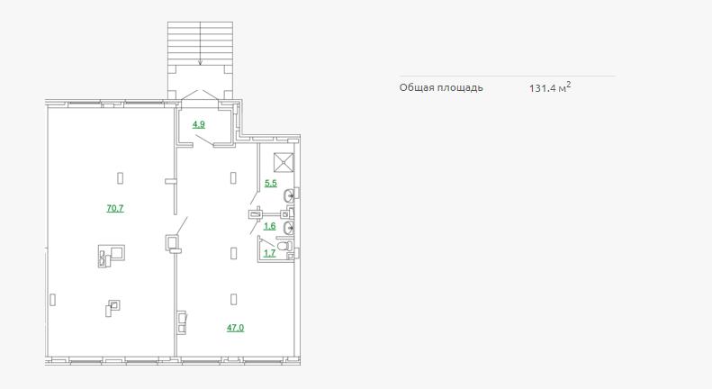 Планировка коммерческого помещения 131,40 м2 ЖК ПЕТРОВСКИЙ КВАРТАЛ