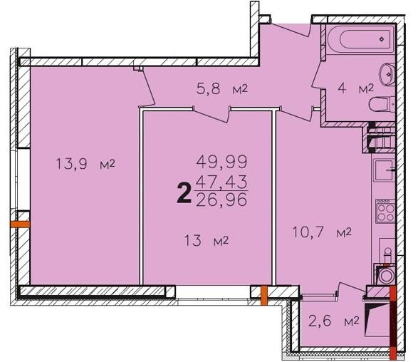 Планировка двухкомнатной квартиры ЖК ПАВЛОВ по улице Академика Павлова города Тулы