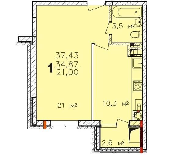 Планировка однокомнатной квартиры ЖК ПАВЛОВ по улице Академика Павлова города Тулы