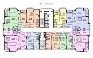 Планировка с 5-го по 18-й этаж дома по улице Демонстрации