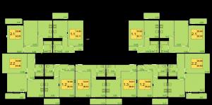 Планировка типового этажа в 9-ти этажном жилом доме ЖК ПЕТРОВСКИЙ КВАРТАЛ