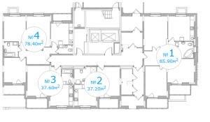 Планировка 1-го этажа 1-го подъезда 5-го дома ЖК Московский по ул. Павшинский мост