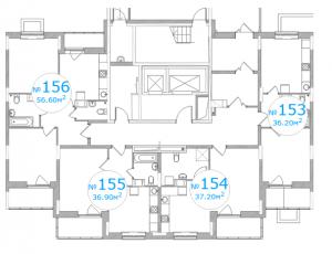 Планировка 1-го этажа 3-го подъезда 5-го дома ЖК Московский по ул. Павшинский мост