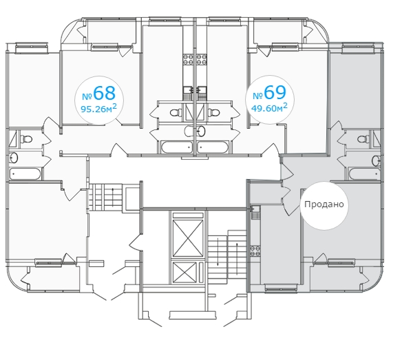 Планировка 1-го этажа 1-го подъезда 1-го дома ЖК Московский по ул. Павшинский мост