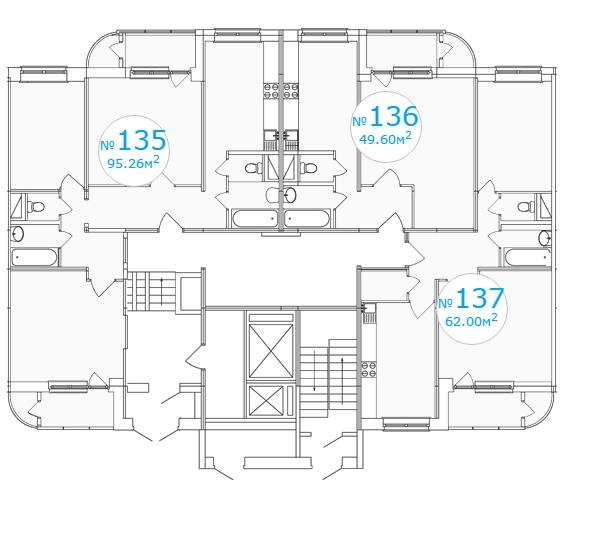Планировка 1-го этажа 2-го подъезда 1-го дома ЖК Московский по ул. Павшинский мост