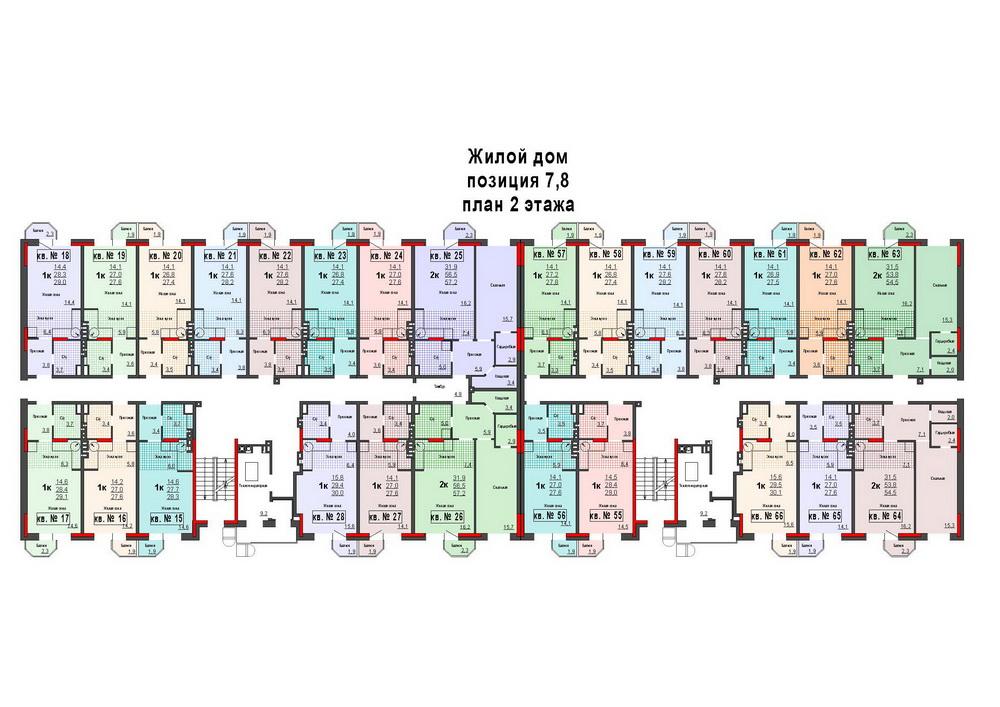 Планировка 2-го этажа дома 7-8 ЖК микрорайон ЛЕВОБЕРЕЖНЫЙ по улице Восточная, улице Защитников Тулы, улице Аркадия Шипунова, 1-й Восточный проезд,2-й Восточный проезд,3-й Восточный проезд, Уютный проезд