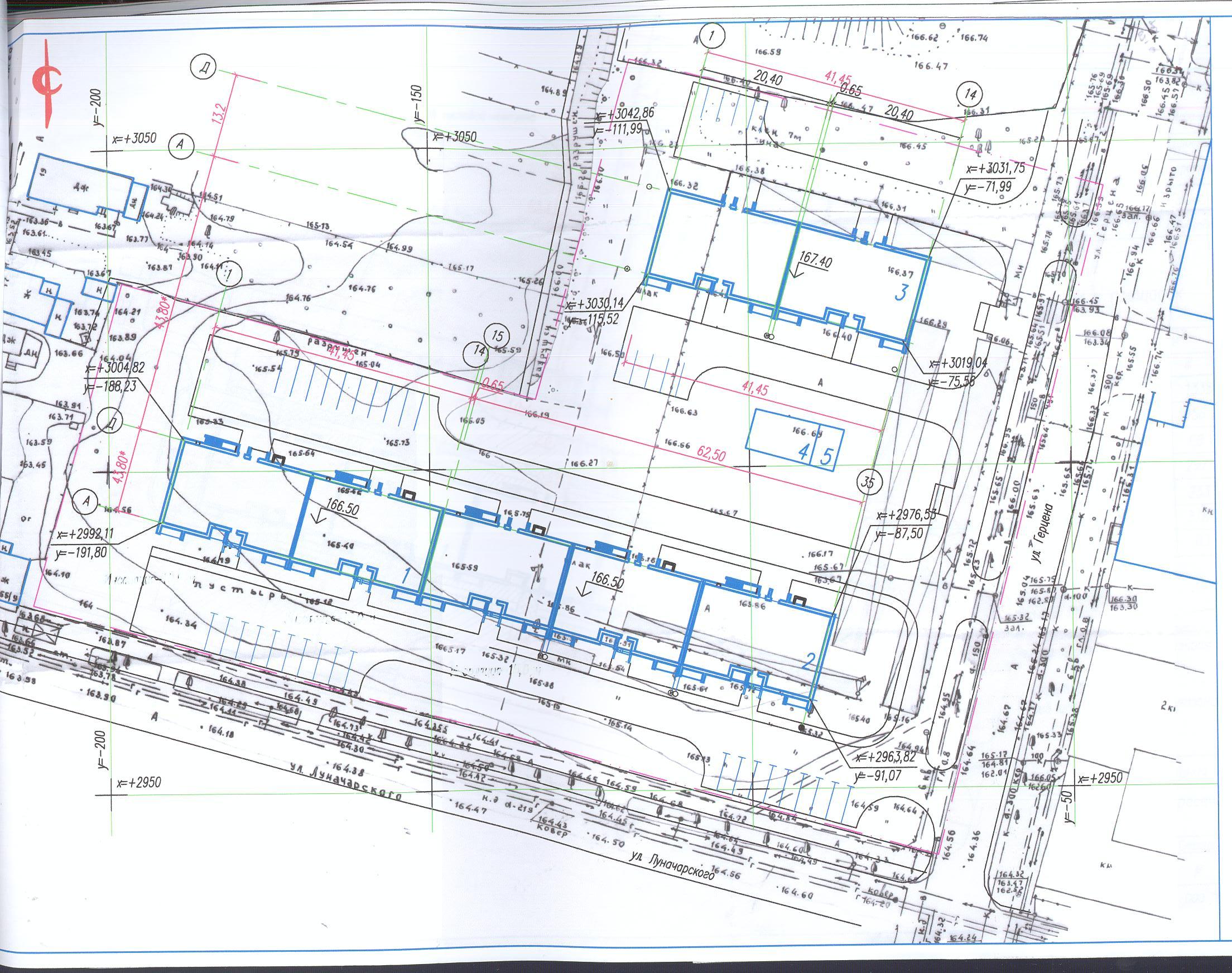План строительства ЖК по улице Луначарского / Герцена г. Тулы.