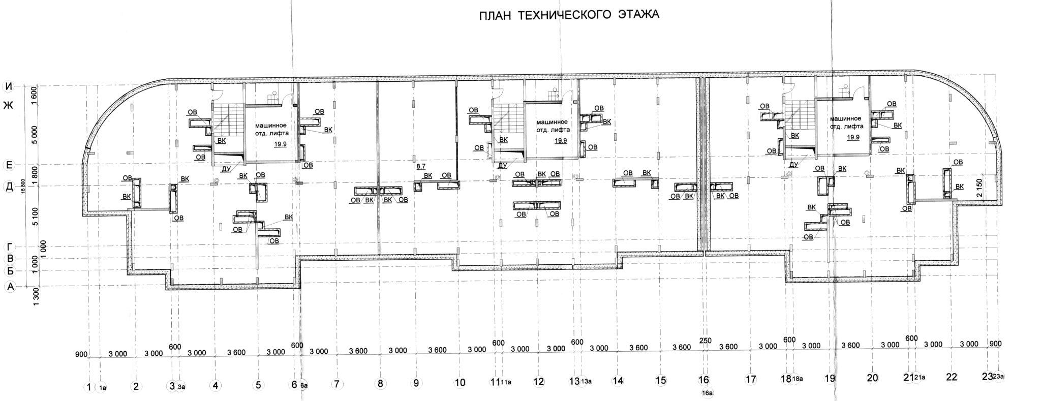 Планировка технического этажа ЖК МАКАРЕНКО