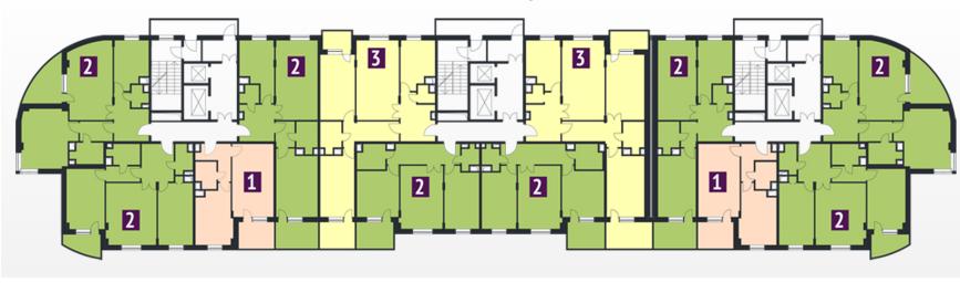 План типового этажа ( со 2-го по 17-й) секций А,Б,В ЖК Макаренко
