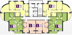 План типового этажа ( со 2-го по 17-й) секции Г ЖК Макаренко