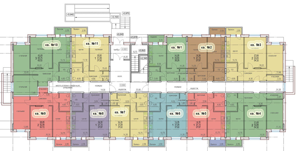 Планировка 1-го этажа 2-го дома ЖК НОВОЕ ЗАРЕЧЬЕ