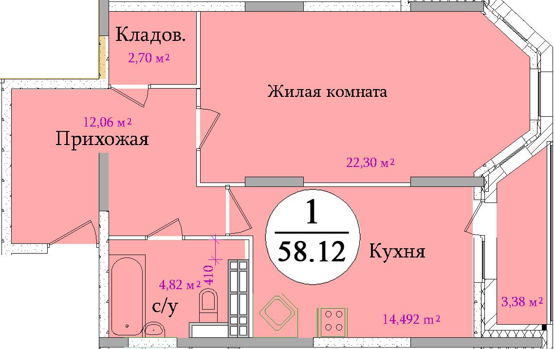 Планировка однокомнатной квартиры площадью 58,12 м2 ЖК НА ПЕРВОМАЙСКОЙ по улице Первомайская в городе Туле