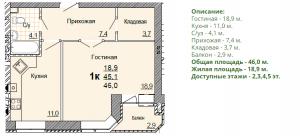 Планировка однокомнатной квартиры 46,00 м2. 1-ая планировка в жилом доме по улице Глинки 5