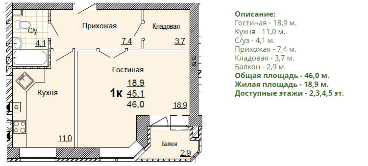 Планировка однокомнатной квартиры 46,00 м2. 1-ая планировка.