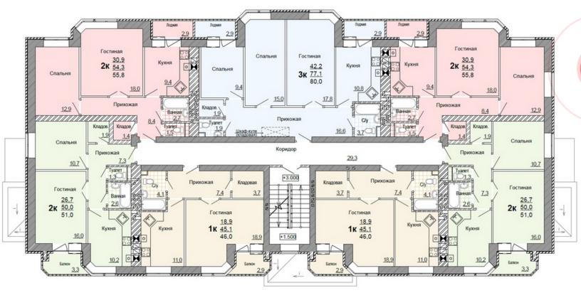 Планировка 2,3,4-го этажа жилого дома по улице Глинки 5
