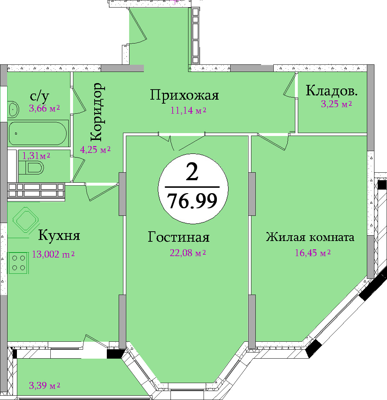 Планировка двухкомнатной квартиры площадью 76,99 м2 ЖК НА ПЕРВОМАЙСКОЙ по улице Первомайская в городе Туле
